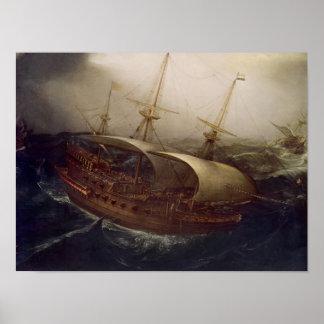 Dutch Battleship in a Storm Poster