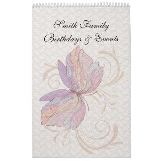 Dutch Birthday Calendar Vintage Lace Butterfly