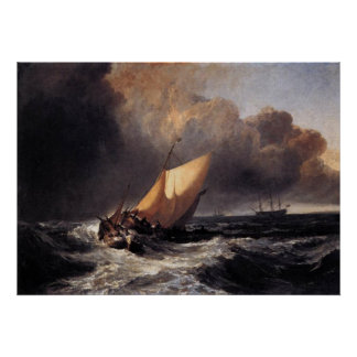Dutch Boats in a Gale Poster