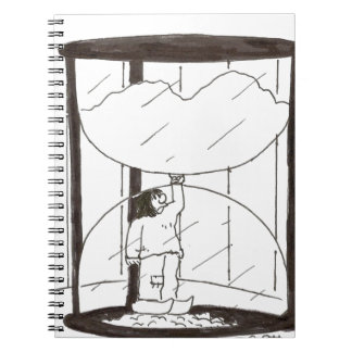 Dutch boy plugging top of timer (stopping time) note book