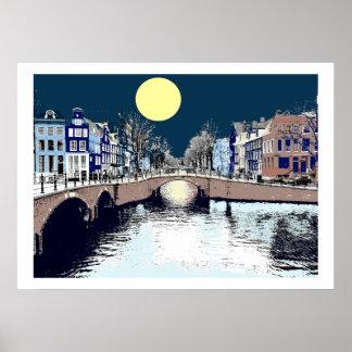 Dutch Bridge Full Moon Poster