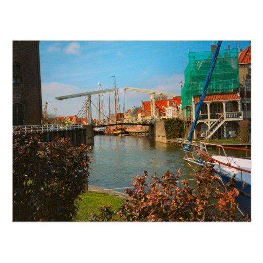 Dutch bridge, houses and quayside, Enkhuizen Postcard