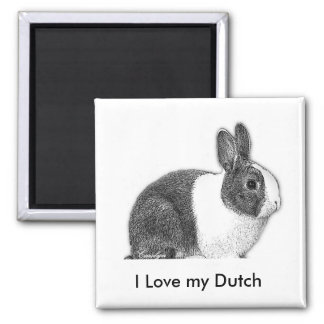 Dutch bunny pencil drawing 2 inch square magnet