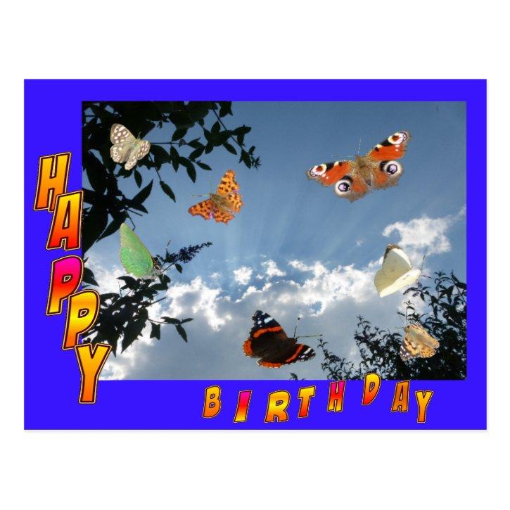 Dutch Butterflies Blue Happy Birthday Postcard