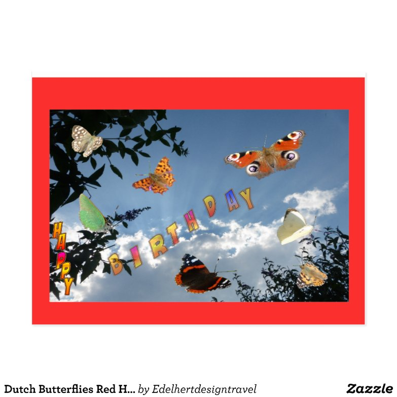 Dutch Butterflies Red Happy Birthday Postcard