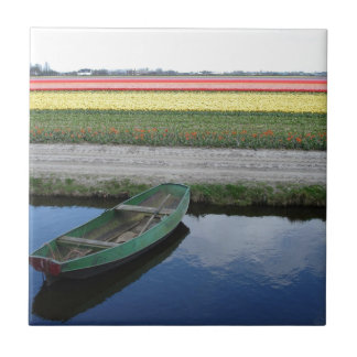 Dutch canals and bulbfields ceramic tile