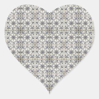 Dutch Ceramic Tiles 2 Heart Sticker