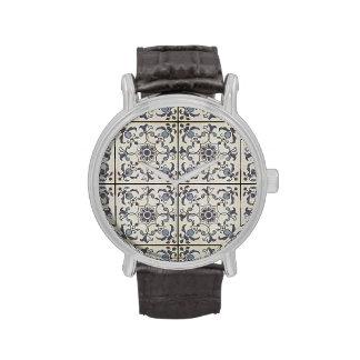 Dutch Ceramic Tiles 2 Large Wrist Watch