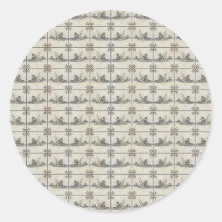 Dutch Ceramic Tiles 4 Classic Round Sticker