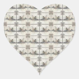 Dutch Ceramic Tiles 4 Heart Sticker