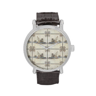 Dutch Ceramic Tiles 4 Large Wristwatches