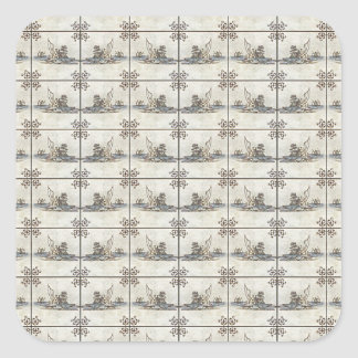 Dutch Ceramic Tiles 4 Square Sticker