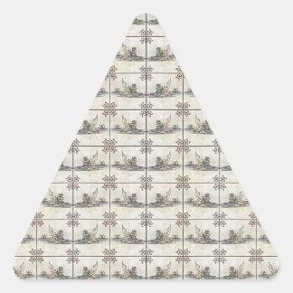 Dutch Ceramic Tiles 4 Triangle Sticker