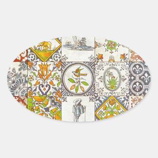 Dutch Ceramic Tiles Oval Sticker