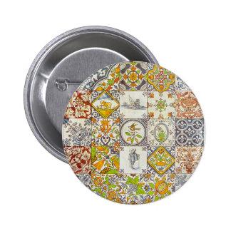 Dutch Ceramic Tiles Pinback Button