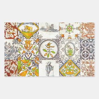 Dutch Ceramic Tiles Rectangle Sticker