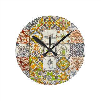 Dutch Ceramic Tiles Round Clock