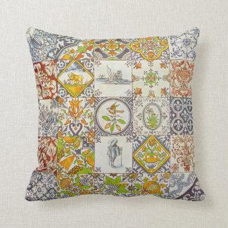 Dutch Ceramic Tiles Throw Pillow