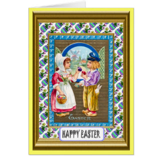 Dutch children and easter eggs greeting cards