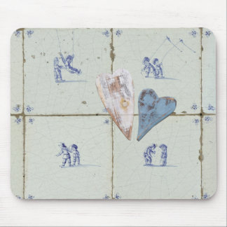 Dutch Children On Delft Blue Tiles With Hearts Mouse Pad
