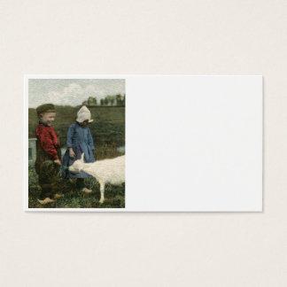Dutch Children with Feeding Their Goat Business Card