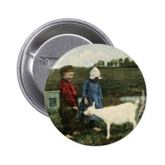 Dutch Children with Feeding Their Goat Pinback Button