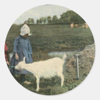 Dutch Children with Feeding Their Goat Classic Round Sticker