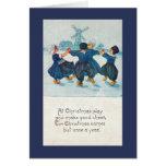 Dutch Christmas Children Dancing, Customizable Card
