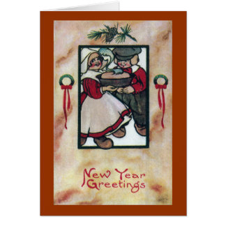Dutch Couple with Hot Pie Vintage New Year Card