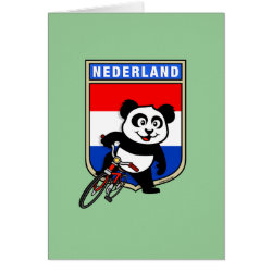 Greeting Card with Dutch Cycling Panda design