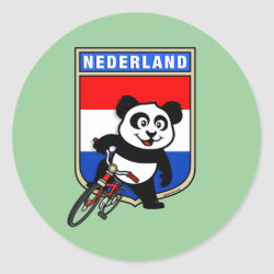 Round Sticker with Dutch Cycling Panda design