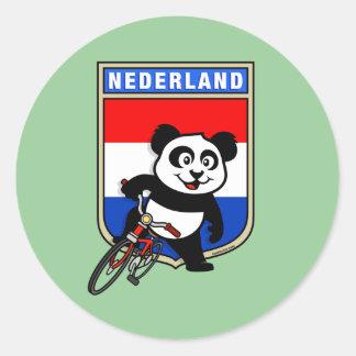 Dutch Cycling Panda Classic Round Sticker
