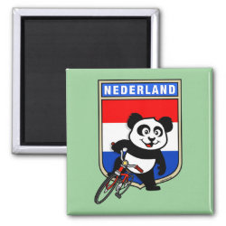 Square Magnet with Dutch Cycling Panda design