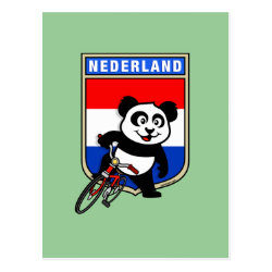 Postcard with Dutch Cycling Panda design