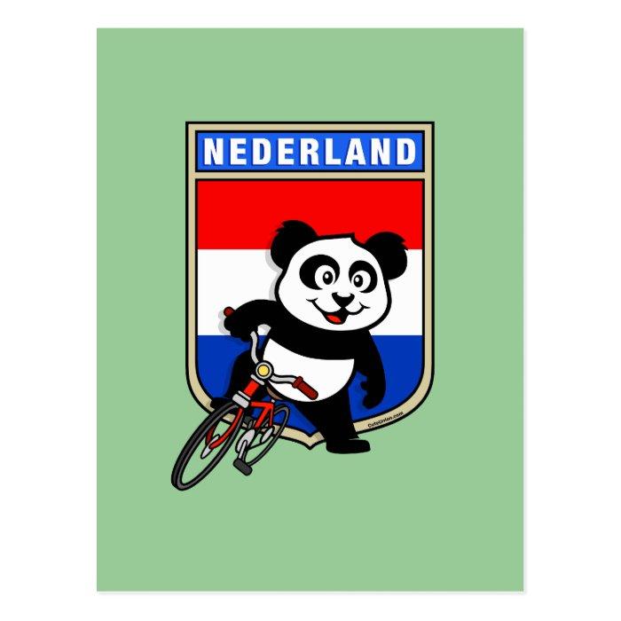 Dutch Cycling Panda Postcard