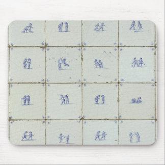 Dutch Delft Blue Tiles Mouse Pad