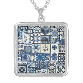 Dutch Delft Square Pendant Necklace