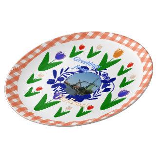 Dutch Delftware Style Pattern Holland Tulips Porcelain Plate