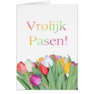 Dutch Easter card - Vrolijk Pasen tulip bouquet