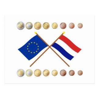 Dutch Euros and EU & Netherlands Flags Postcard