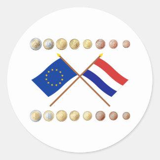 Dutch Euros and EU & Netherlands Flags Sticker