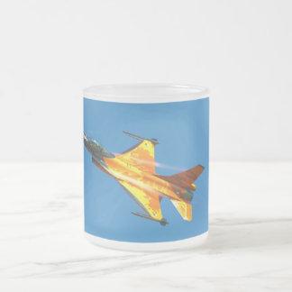 Dutch F-16 Fighting Falcon Jet Airplane 10 Oz Frosted Glass Coffee Mug