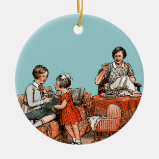 Dutch family ceramic ornament