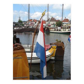 Dutch Flag, Boats & Harbor Lemmer Fryslan Postcard