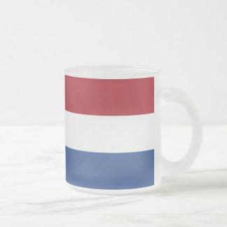 Dutch flag frosted glass coffee mug