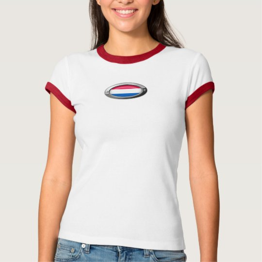 Dutch Flag in Oval Steel Frame T-Shirt