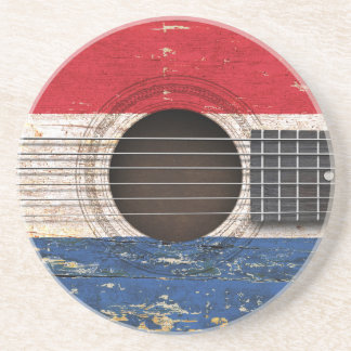 Dutch Flag on Old Acoustic Guitar Coasters