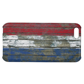 Dutch Flag on Rough Wood Boards Effect iPhone 5C Covers