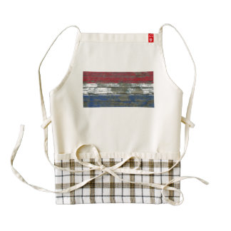 Dutch Flag on Rough Wood Boards Effect Zazzle HEART Apron