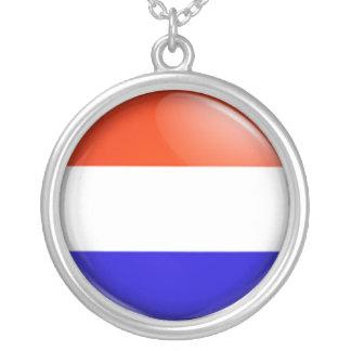Dutch flag round pendant necklace